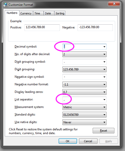 Changing Regional Setting in Windows (CSV imports)